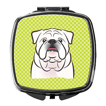 Checkerboard Lime Green White English Bulldog  Compact Mirror
