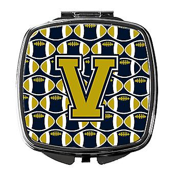 Carolines Treasures  CJ1074-VSCM Letter V Football Blue and Gold Compact Mirror