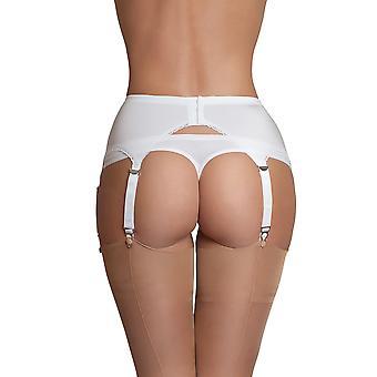 Nylon Träume NDL2 Frauen weiße einfarbig Strumpfband Gürtel 6 Gurt Strapsgürtel