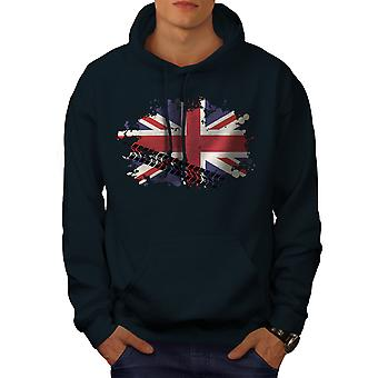 Union Jack Flag London UK Men NavyHoodie | Wellcoda