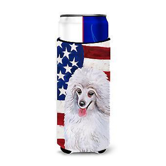 Medium White Poodle Patriotic Michelob Ultra Hugger for slim cans