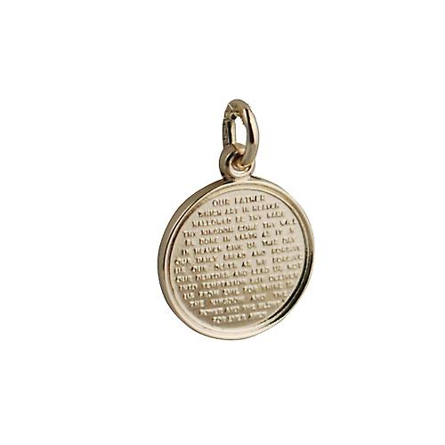 9ct Gold 16mm round The Lords Prayer Pendant