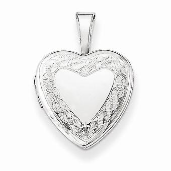 925 Sterling Silver Heart Twisted Zipper Accent Locket Charm - 12mm