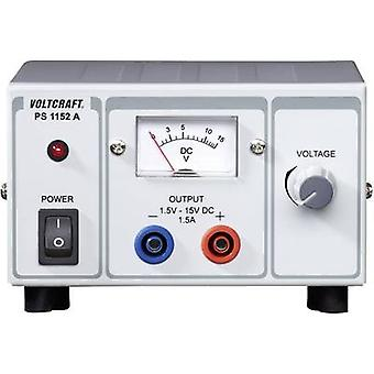 Bench PSU (adjustable voltage) VOLTCRAFT PS-1152 A 1.5 - 15 Vdc 1.5 - 1 A 22.5 W No. of outputs 1 x
