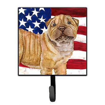 Carolines Treasures  BB9719SH4 Shar Pei Puppy Patriotic Leash or Key Holder