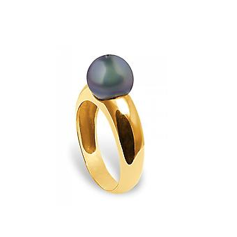 Ring Pearl of Culture of freshwater white and yellow gold 375/1000