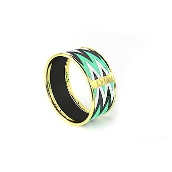 Legend Vogue - Bracelet Bangle Or Jaune Tribal Totem Vert