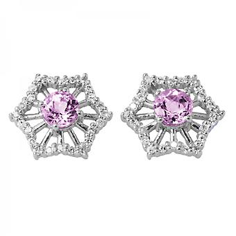 Dames Shipton en Co exclusieve 9ct witgoud 4.5mm ronde Morganite en 0.24cts diamanten oorbellen EWD120MOD