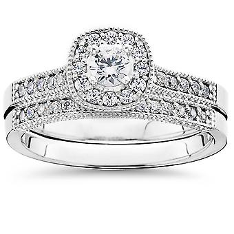 5/8Ct Diamond Bridal Vintage Engagement Ring Set 10K White Gold
