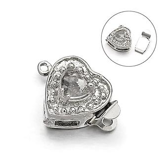 Packet 2 x Platinum Metal Alloy Heart Box Clasps 11 x 16mm Y03275