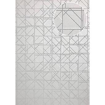 Graphic wallpaper ATLAS XPL-591-6 non-woven wallpaper structured with geometric forms gleamin' bright grey grey white silver grey 5.33 m2