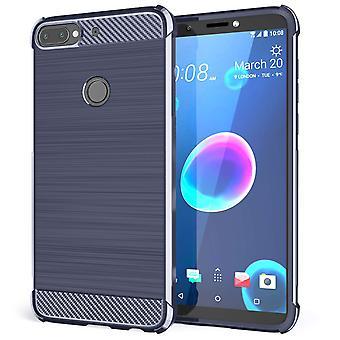 HTC Desire 12 Plus Carbon Anti höst TPU väska - blå