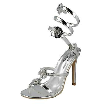 Ladies Spot On High Heel Strappy Sandals F10829 - Silver Metallic Foil - UK Size 6 - EU Size 39 - US Size 8