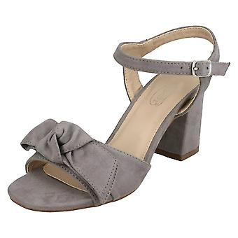 Ladies Spot On Blocked Heel Sandals F10840 - Grey Microfibre - UK Size 8 - EU Size 41 - US Size 10