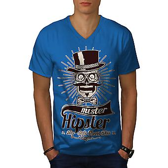 Mister Schädel Schnurrbart Männer Royal BlueV-Neck T-shirt   Wellcoda