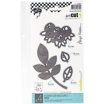 Carabelle Art Cut Die-Leaves And Flowers, 4/Pkg