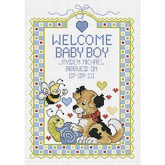 Welcome Baby Boy Sampler Counted Cross Stitch Kit-7