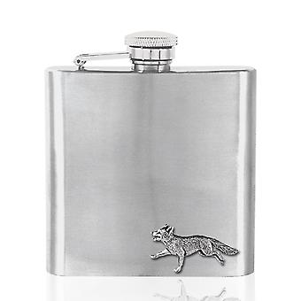 Fox Pewter Badge on Stainless Steel Flask Set - 6oz