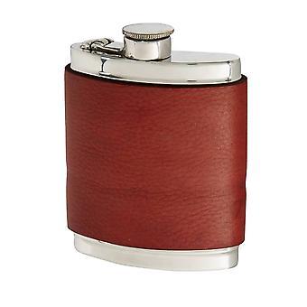 6Oz Red Velvet Leather Captive Top Pewter Flask