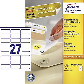 Papel de 63,5 x 29,6 mm etiquetas Avery Zweckform L4737REV-100