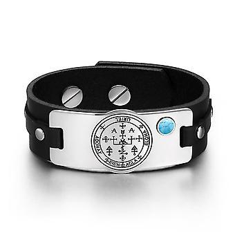Archangel Uriel Sigil Magic Powers Amulet Tag Simulated Turquoise Adjustable Black Leather Bracelet