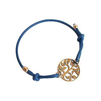 Gemshine - Damen - Armband - KNOTS Lebensbaum - Vergoldet - Blau - Größenverstellbar