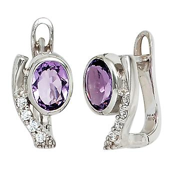 Hoop earrings earrings purple cubic zirconia 925 sterling silver rhodium plated Silver earrings