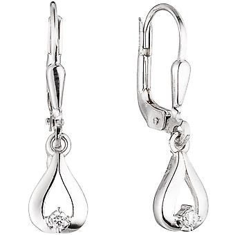 Earrings of white gold boutons drops 333 White Gold 2 cubic zirconia earrings