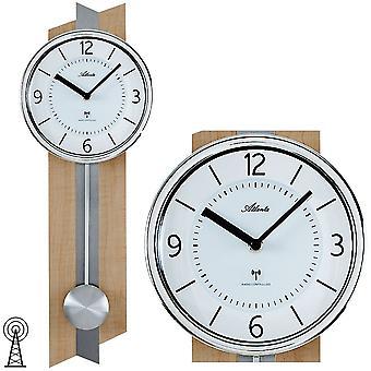 Atlanta 5101 parete radio sveglia radiocontrollato orologio da parete con pendolo pendolo orologio di legno in uomo di faggio