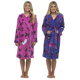 Ladies Tom Franks Warm Fleece Sheep Print Hooded Wrap Bathrobe Dressing Gown