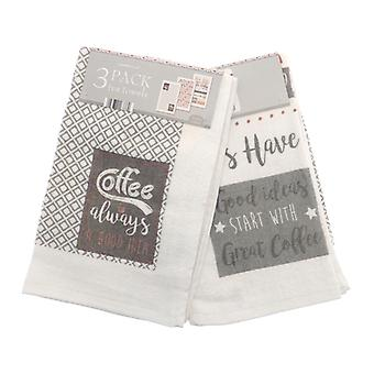 Country Club Pack of 3 Tea Towels, Coffee