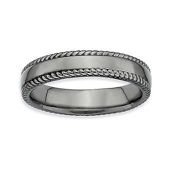 Argento lucido Patterned rutenio placcatura impilabile espressioni nero-placcato anello - anello taglia: 5-10