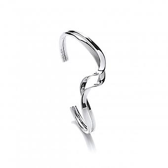 Cavendish French Sterling Silver Entwined Ribbon Cuff Bangle