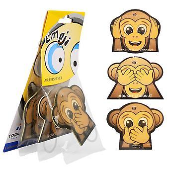 3-Pack Doftgran to the car Air Freshener Monkey Emoticon Monkey