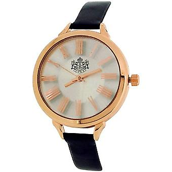 LYDC Ladies Silver Dial Rose Goldtone Case & Black Shiny PU Strap Watch LYDC99A