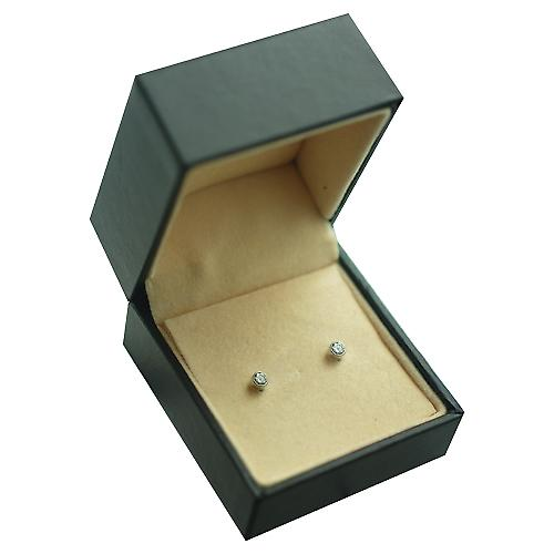 9ct White Gold 3mm round collet set with Cubic Zirconia Stud Earrings no Hallmark