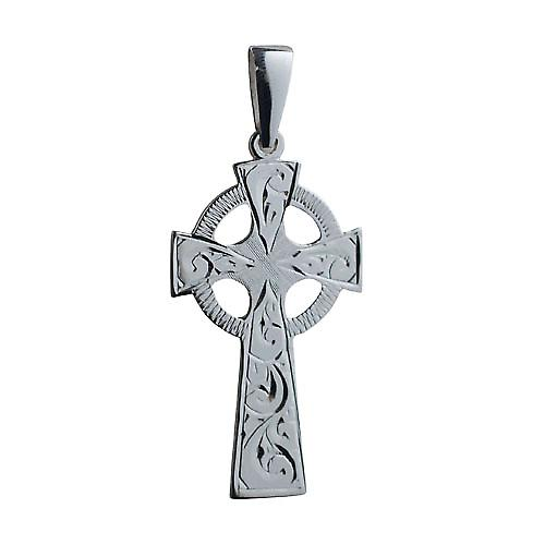 Silver 45x20mm hand engraved Celtic Cross with bail
