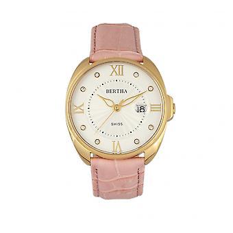 Bertha Amelia Leather-Band Watch w/Date - Light Pink