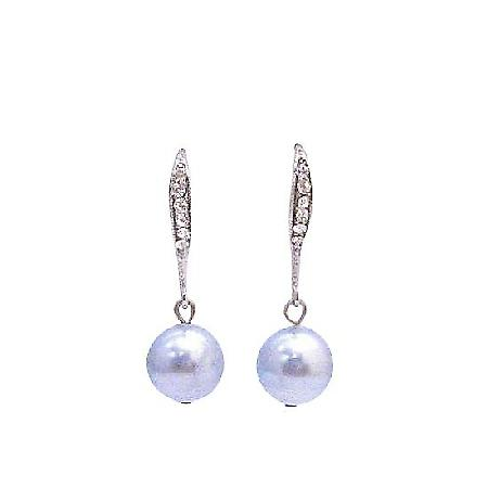 Inexpensive Swarovski Lite Blue Pearl Diamante Hook Wedding Earrings