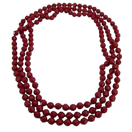 Passionate Romantic Jewelry Red Multi Faceted Beads Long Necklace