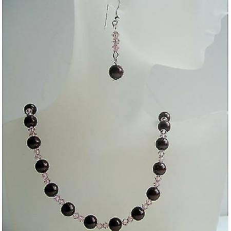 Handmade Meroon Swarovski Pearls & Vintage Rose Crystals Necklace Set