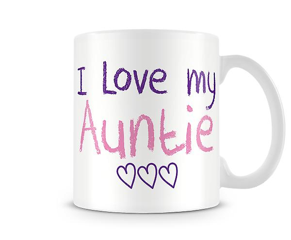 Decorative Writing I Love My Auntie Pink & Purple Writing Printed Text Mug