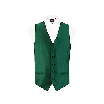 Dobell Mens Racing Green Waistcoat Regular Fit Dupion 5 Button