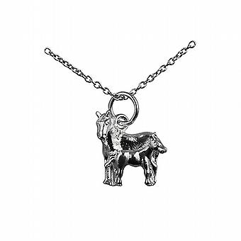 Silver 13x13mm Horse and Foal Pendant with a rolo Chain 14 inches Only Suitable for Children