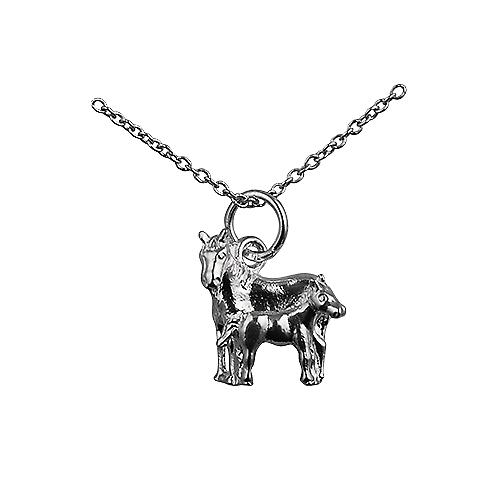 Silver 13x13mm Horse and Foal Pendant with a rolo Chain 16 inches Only Suitable for Children