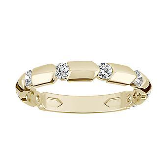 14K Yellow Gold Moissanite przez Charles & Colvard 2mm okrągły Fashion Ring, 0,24 cttw DEW