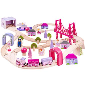 Bigjigs Rail Wooden Fairy Town Train Set Pink Accessories Track Play Kids Child