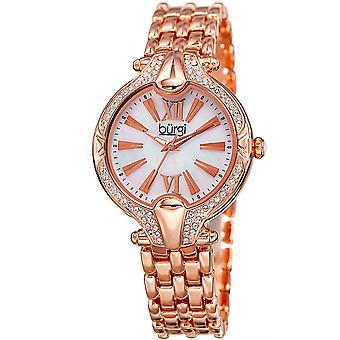 Burgi Women's BUR163  Swarovski Crystal Bezel Mother of Pearl Bracelet Watch BUR163RG