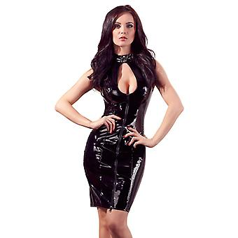 Lacquer Dress With Long Zipper And Lacing