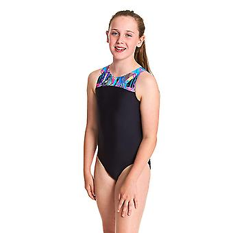 Zoggs Girls Labrynth Infinity Back One Piece Maillot de bain - Noir/Multi